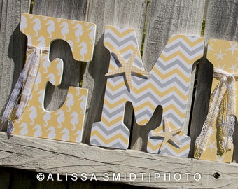 Ocean Theme Letters, Beach Theme, Wooden Letters, Nursery Letters (nautical starfish lace ribbon seahorse yellow grey gray) 12 Inch Letters