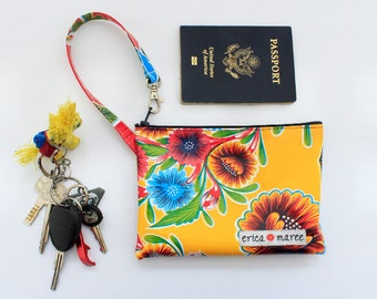 Wristlet Wallet in Sweet Floral Oilcloth