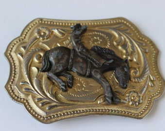 Vintage Belt Buckle Rodeo Bucking Bronco Rectangular