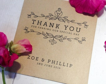 10x Personalised 'Thank You' Wedding Favour Envelopes with Wildflower Seeds