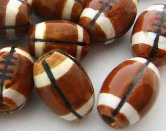 10 Large Football Beads - ceramic, sports, peruvian