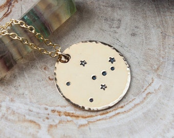Taurus constellation zodiac necklace. Gift for her. Gold zodiac constellation necklace. Taurus zodiac necklace. Taurus birthday gift. RTS