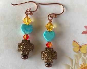 Turquoise earrings, copper earrings, cross earrings, Faith Earrings, Christian earrings, beaded earrings, crystal earrings, gift