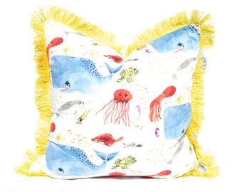 """Blue Whale Pillow Cover Embellished with 2"""" Yellow Brush Fringe. Lumbar Whale Pillow Cover."""