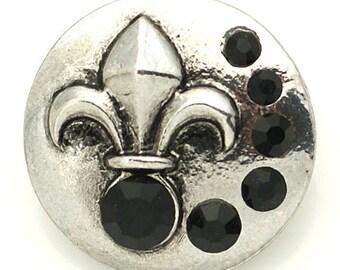 1 PC - 18MM Fleur De Lis Black Rhinestone Silver Snap Candy Charm KB8891 Cc2054
