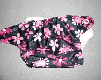 Full One Size Pink Floral Pocket Diaper