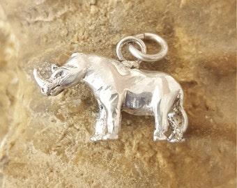 Sterling Silver small Rhino solid Pendant  .