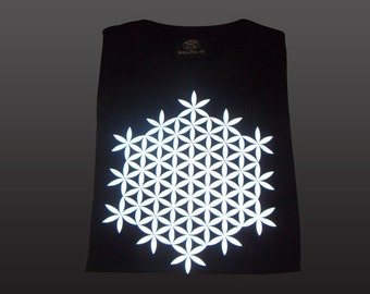Flower of Life T-shirt | light reflective print | psychedelic | sacred geometry | night glow