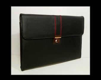 Vintage 1970s 1980s noir cuir tri-fold mallette avec clé ~ verrouillage ~ garniture rouge ~ Giorgini Elpro Made in sac cartable en Canada Nouveau