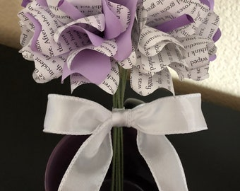 Purple and Lavender Book Flower Bouquet with White Satin Bow