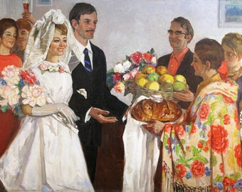 """Original picture of the USSR """"Meeting the newlyweds"""" in 1965 artist Sharkevich Vsevolod Danilovich (1911-1994)"""