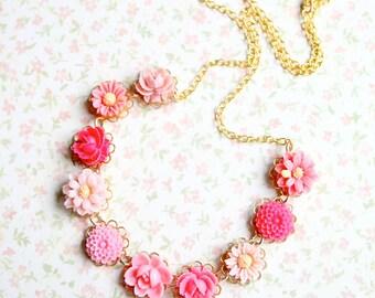 Girls Pink Necklace, Pink flower necklace, pink necklace, keepsake necklace, gift for girls, flower girl necklace, gift for girls