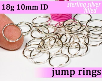 18g 10.0mm ID silver filled jump rings -- 18g10.00 open jumprings