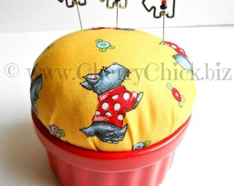 Scotty Dog Pincushion - Mary Engelbreit fabric pincushion - Gift for Quilters - Scottie Dog -  Mary Englebreit - Cherry Chick