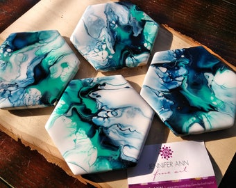 Abstract turquoise and deep blue hand painted hexgon coasters