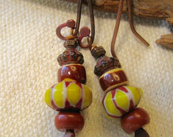 Red and yellow trade bead dangle earrings