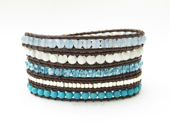 Blue white stone wrap bracelet with Turquoise, shell, crystal, silver plated beads on soft brown polyester cord