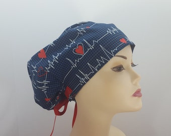 Women's surgical scrub hats, or scrub caps-EKG Print-cotton 100%
