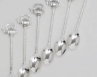 Silverplate Demitasse Jam Spoon Demi Teaspoon Coffee or Tea Service Tea Kettle Design Set of 6