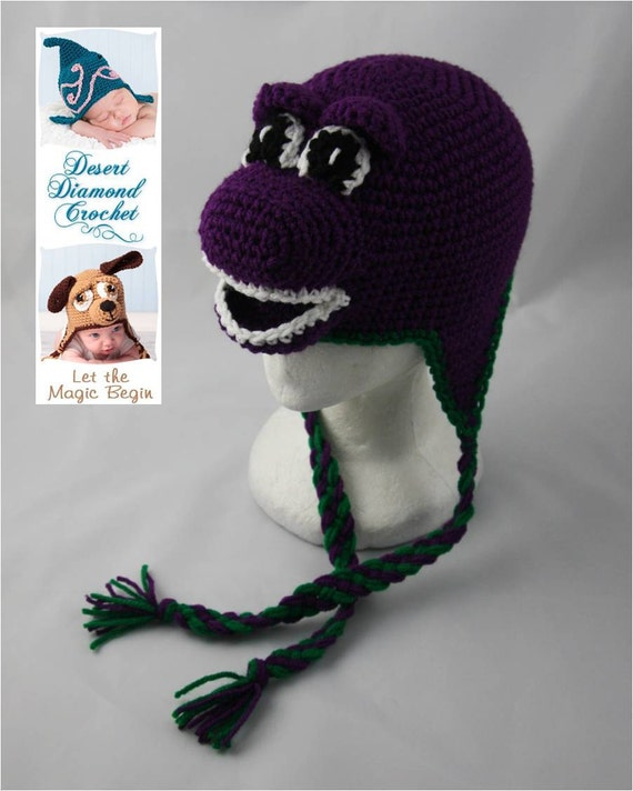 Purple Dinosaur Earflap Beanie - Any Colors - Any Size