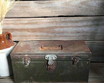 Vintage Tackle Box - Green Tackle Box - Rustic Tackle Box - Rustic Storage - Metal Tool Box - Farmhouse Decor