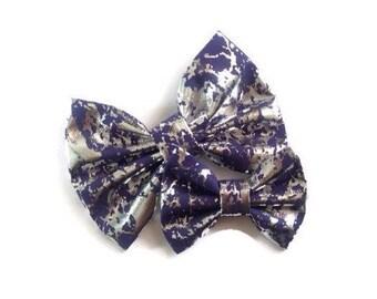Silver Foil Navy Bow | Fabric Bow | Handmade Hair Bow | Hair Clip | Headband