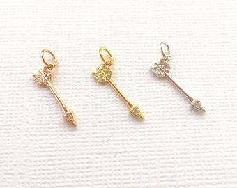 RHODIUM Plated Arrow Pave Charm, Arrow Pendant, Arrow Charm, Cz Arrow, Arrow Pendant, Pave Arrow, Silver Arrow [1264]