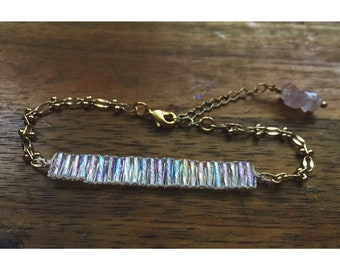 Discovery Bracelet — AB rainbow czech glass, unicorn bugle trans ally pride, multicolor gold layering, arm party wrist candy, genderqueer