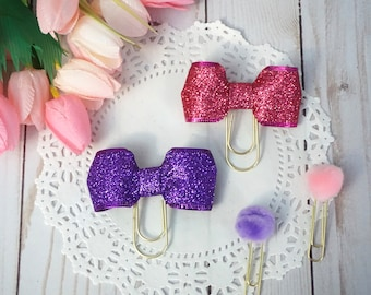 Pink / purple glitter bow paperclips
