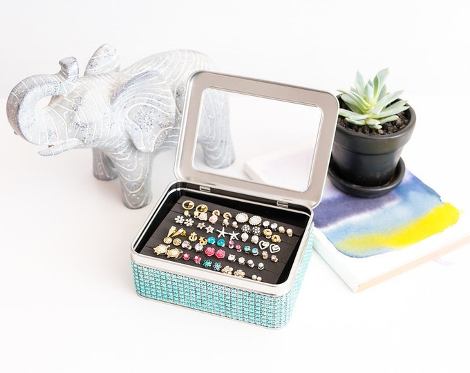 Tin Jewelry Box - Turquoise Blue  - Jeweled Ribbon - Extra Insert - Travel Earring Organizer
