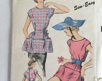Vintage 1940s Uncut Sewing Pattern Apron Pattern Poncho Pattern Advance Pattern