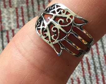 Vintage-Hamza Hand Ring- Sterling Silver Ring...Hand of Fatima...Protection...Good Luck...Unique...Vintage...Gypsy...Islam...Vintage Shop...