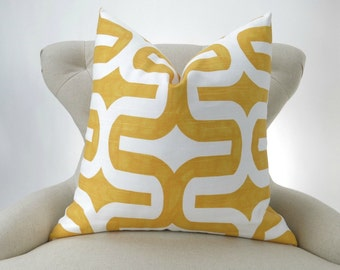 Yellow Floor Pillow, Big Pillow, Yellow White Cushion, Euro Sham, Decorative Pillow -up to 28x28 inch- Embrace Corn Yellow by Premier Prints