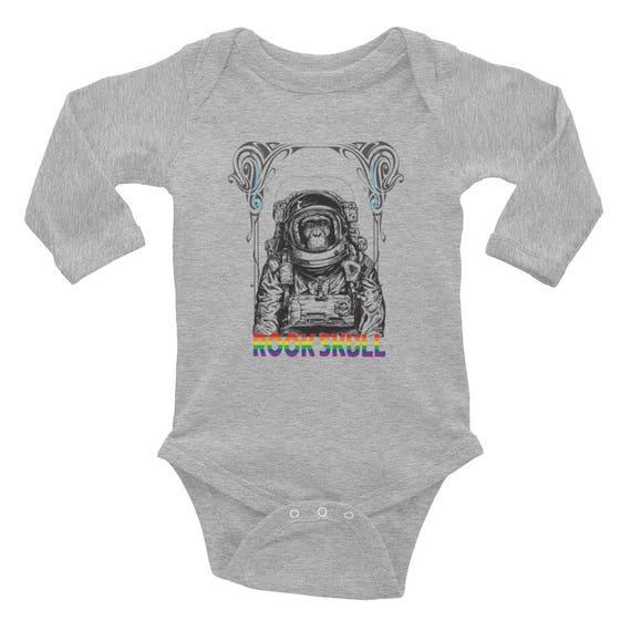 Baby Astro chimp, RookSkull Infant Long Sleeve Bodysuit