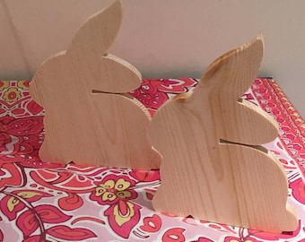 Easter. Wooden Bunnies. Chicks on Sticks. Chicks to decorate. Bunnies to decorate. Decoupage. Chicks and Bunnies to paint. Arts & crafts.