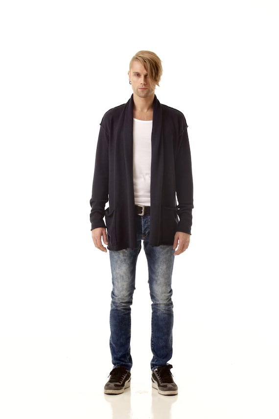 pockets shawl cardigan and wrap front Black mens AXEL open with collar HxqaY1Ow