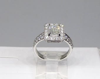 Emerald Cut Diamond Engagement Ring 18Kt Gold