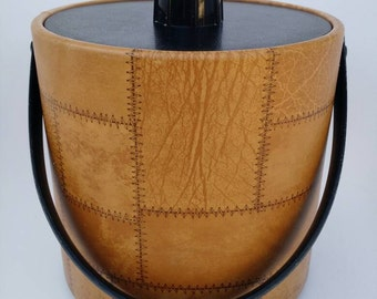 Vintage Irvinware Mid Century Modern Ice Bucket with Faux Leather Patchwork