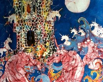 "Unicorns Take Castle - print from original batik - ""The Last Unicorn"""