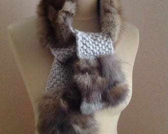 70s Mink Fur Knit Shawl Cream Wool Muffler Scarf Wrap