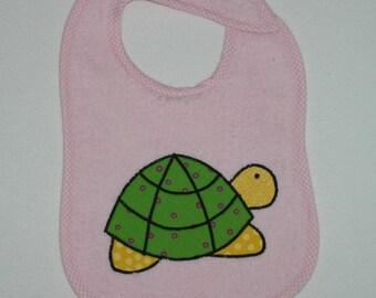 Handmade Baby Bib - Toddler Bib - Turtle - Applique - Terrycloth Toddler Bib