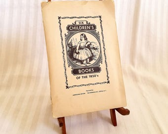 Rare Antique Reprint Of Six Children's Books Of The 1850's In Folder. Wooden Display Stand Included.