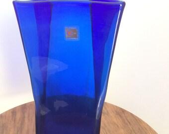 Vintage Mid Century Blenko Glass Blue Folded Flower Vase