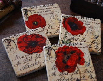 Red Poppies stone coasters (set of 4)