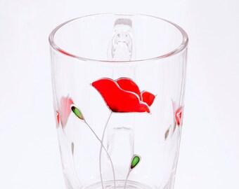 Red Poppy Mug, Flower Mug, Red Poppy Gift, Red Flower Mug, Valentines Day Mug, Mothers Day Mug, Mug for Her