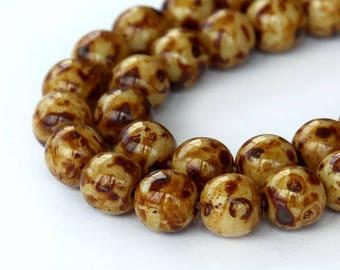 Brown Swirl Czech Glass Beads, 8mm Round- 25 pcs- eBSS-8r