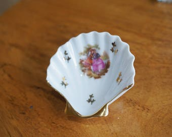 Limoges France -Courting Couple- Small Fan shaped Dish