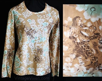 Size 10 Novelty Print Shirt - 1970s Taupe Blouse & Kerchief - Serenade Courtship Print - Simple Casual Top - Deadstock - Bust 36 - 30799-1