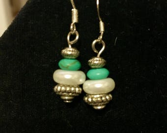 Silver with green turquoise white disk pearl dangle earring