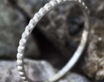 Brushed Finish Sterling Silver Beaded Stacking Ring